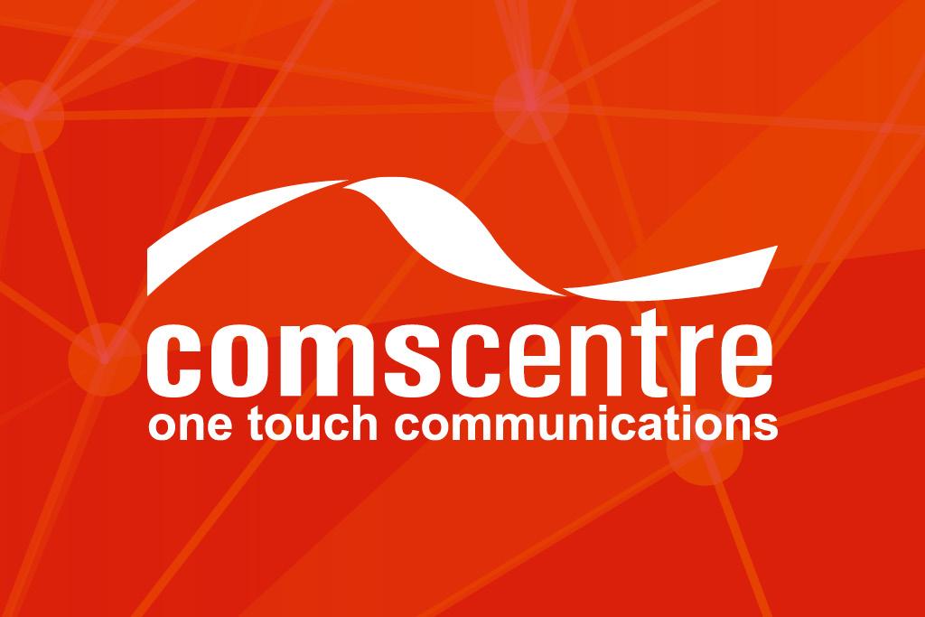 White Comscentre logo on red background
