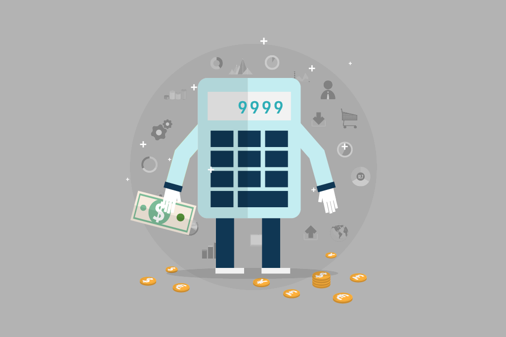 Infographic calculator and money for financial services